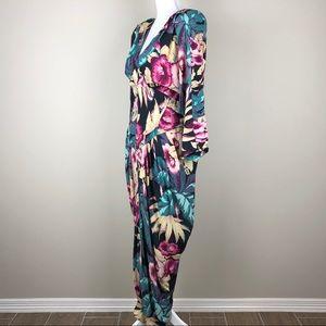J. Harris Dresses - J. HARRIS | Vintage 80s Floral Draped Corset Waist
